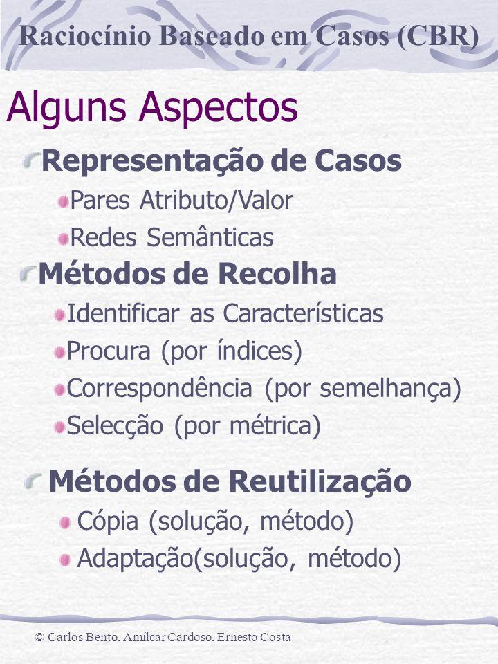 Raciocínio Baseado em Casos (CBR) © Carlos Bento, Amílcar Cardoso, Ernesto Costa Alguns Aspectos Métodos de Reutilização Cópia (solução, método) Adapt