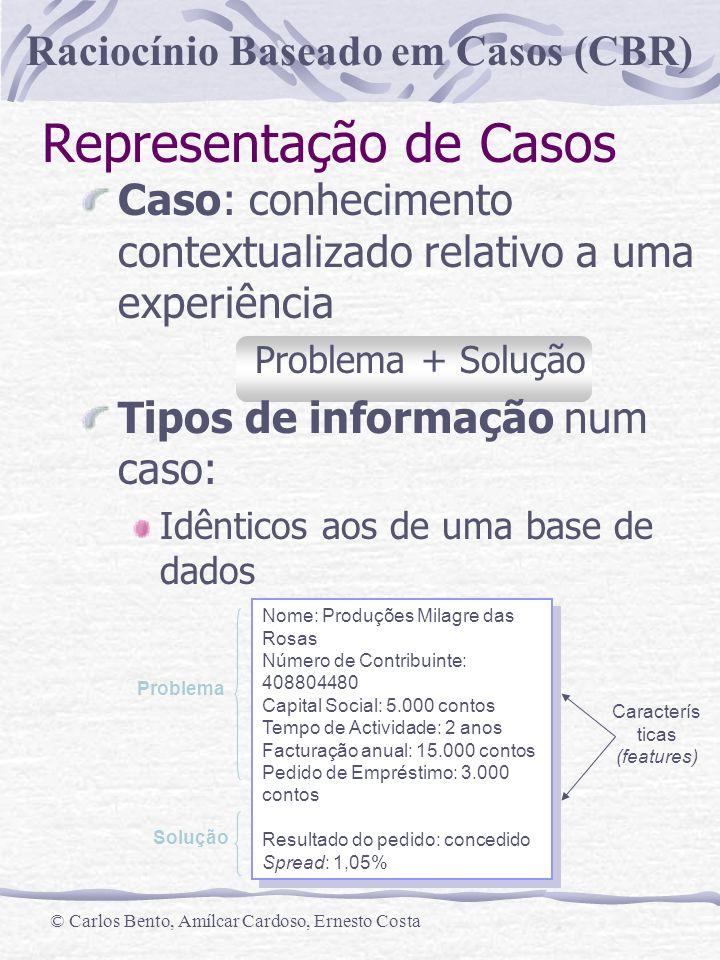 Raciocínio Baseado em Casos (CBR) © Carlos Bento, Amílcar Cardoso, Ernesto Costa Representação de Casos Caso: conhecimento contextualizado relativo a
