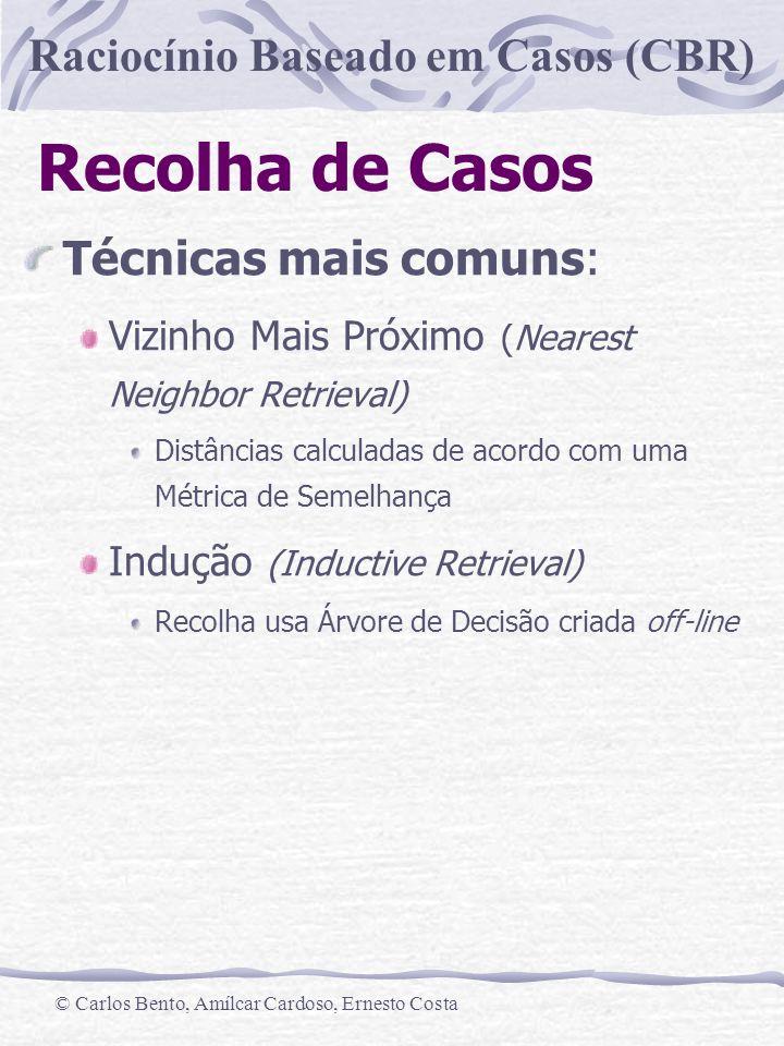 Raciocínio Baseado em Casos (CBR) © Carlos Bento, Amílcar Cardoso, Ernesto Costa Recolha de Casos Técnicas mais comuns: Vizinho Mais Próximo (Nearest