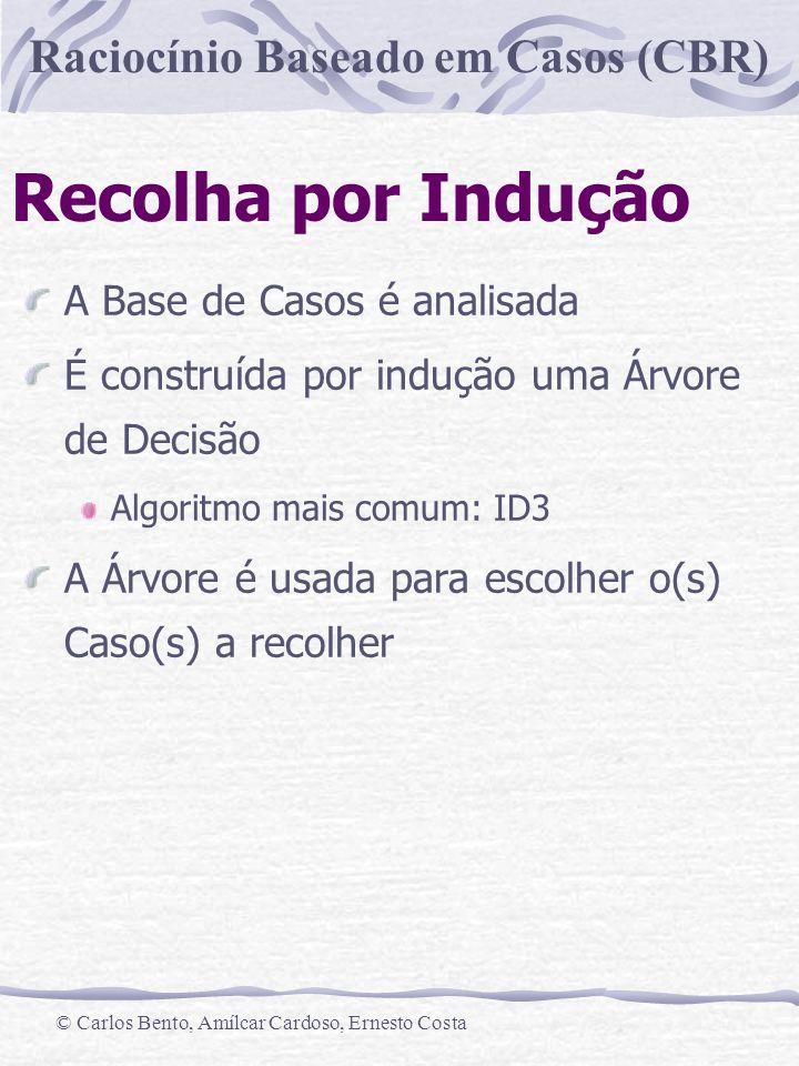 Raciocínio Baseado em Casos (CBR) © Carlos Bento, Amílcar Cardoso, Ernesto Costa Recolha por Indução Exemplo: Empréstimos Bancários Pagamento Mensal < 50c..