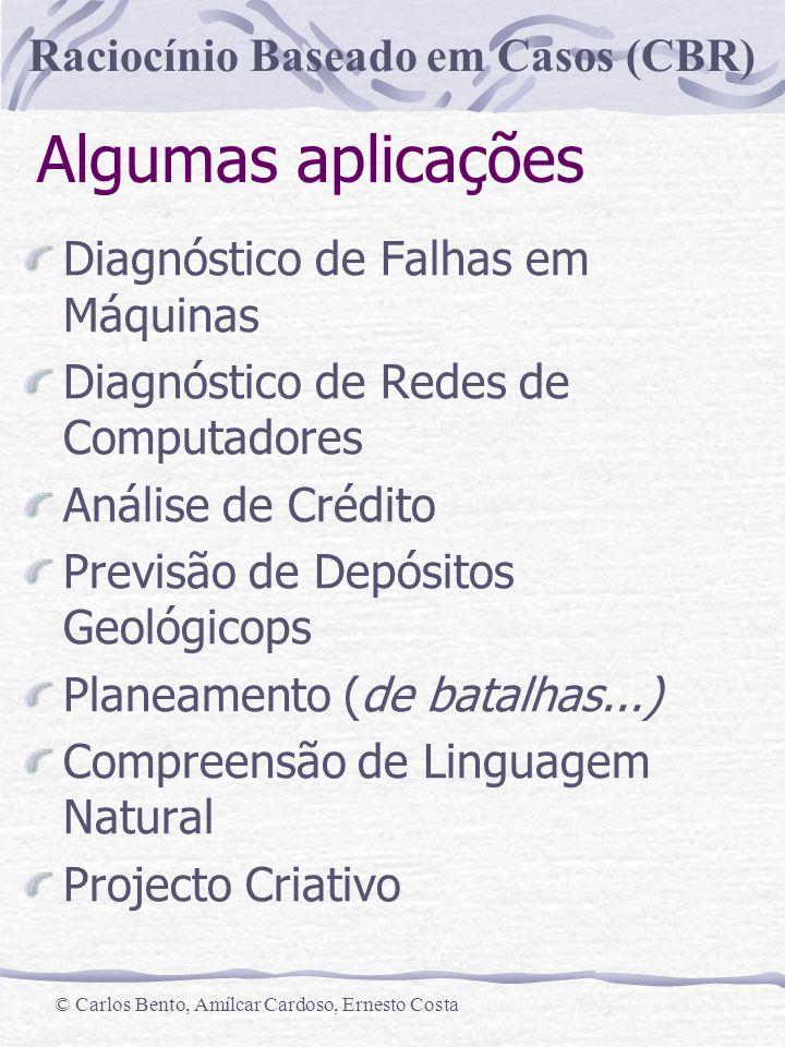 Raciocínio Baseado em Casos (CBR) © Carlos Bento, Amílcar Cardoso, Ernesto Costa Algumas aplicações Diagnóstico de Falhas em Máquinas Diagnóstico de R