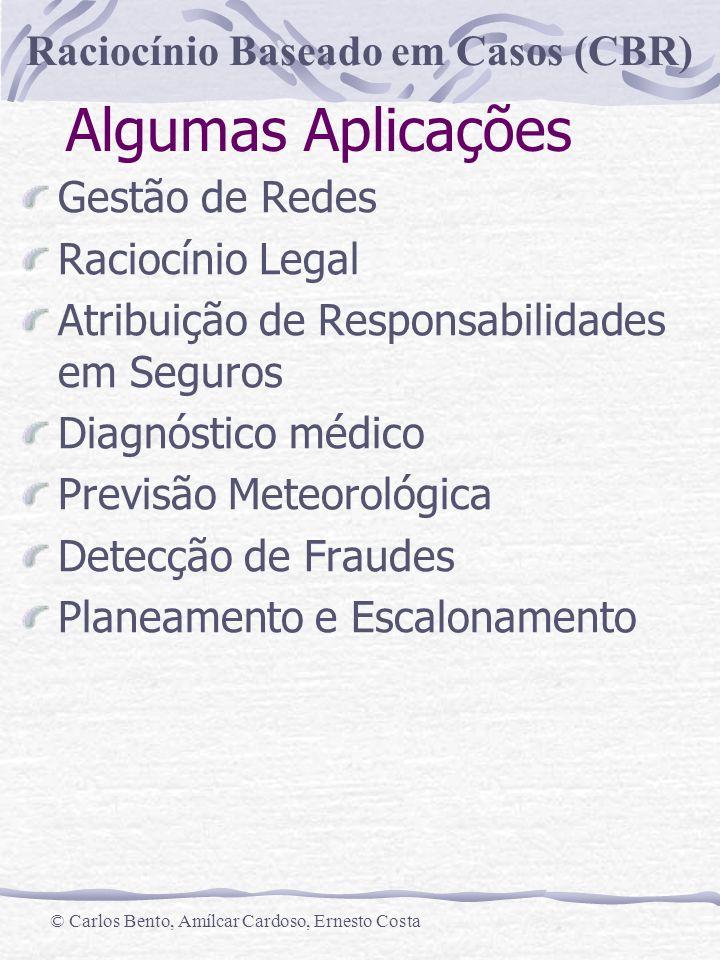 Raciocínio Baseado em Casos (CBR) © Carlos Bento, Amílcar Cardoso, Ernesto Costa Algumas Aplicações Gestão de Redes Raciocínio Legal Atribuição de Res