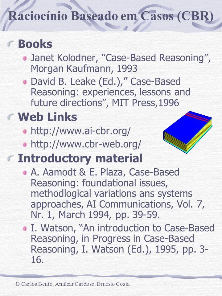 Raciocínio Baseado em Casos (CBR) © Carlos Bento, Amílcar Cardoso, Ernesto Costa Books Janet Kolodner, Case-Based Reasoning, Morgan Kaufmann, 1993 Dav