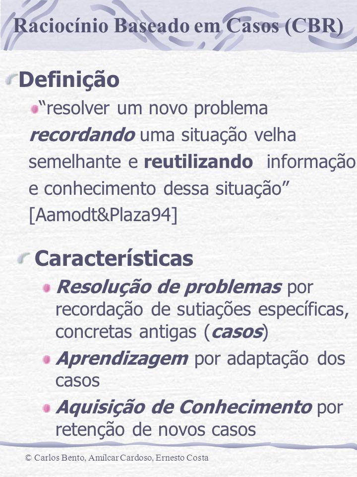 Raciocínio Baseado em Casos (CBR) © Carlos Bento, Amílcar Cardoso, Ernesto Costa Retrieve Suggested Solution Revise Retain Retrieved case(s) Reuse Solved case New case New case Problem Tested, Repaired case Confirmed Solution Previous cases Case memory General Knowledge Os 4Rs: Retrieve,Reuse,Revise,Retain (Aamodt and Plaza, 94) O Ciclo do CBR
