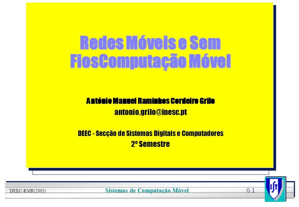 YOUR LOGO HERE 0.2 DEEC-RMR(2003) Sistemas de Computação Móvel Apresentação l Objectivos l Organização l Programa l Avaliação l Bibliografia