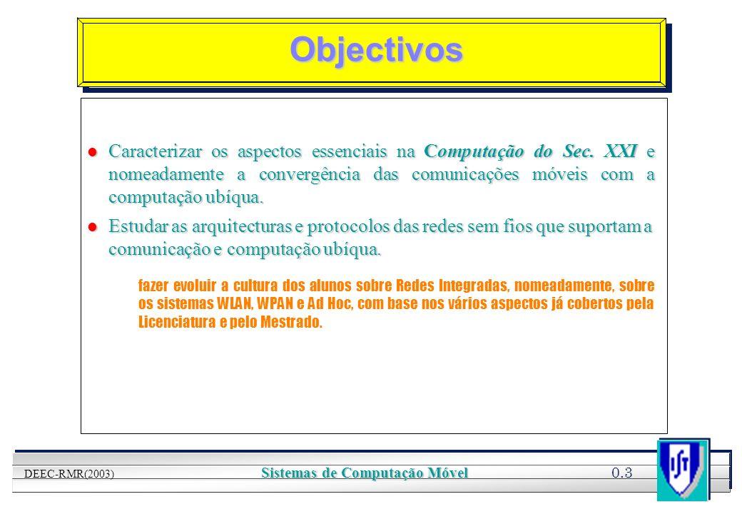 YOUR LOGO HERE 0.3 DEEC-RMR(2003) Sistemas de Computação Móvel Objectivos l Caracterizar os aspectos essenciais na Computação do Sec. XXI e nomeadamen