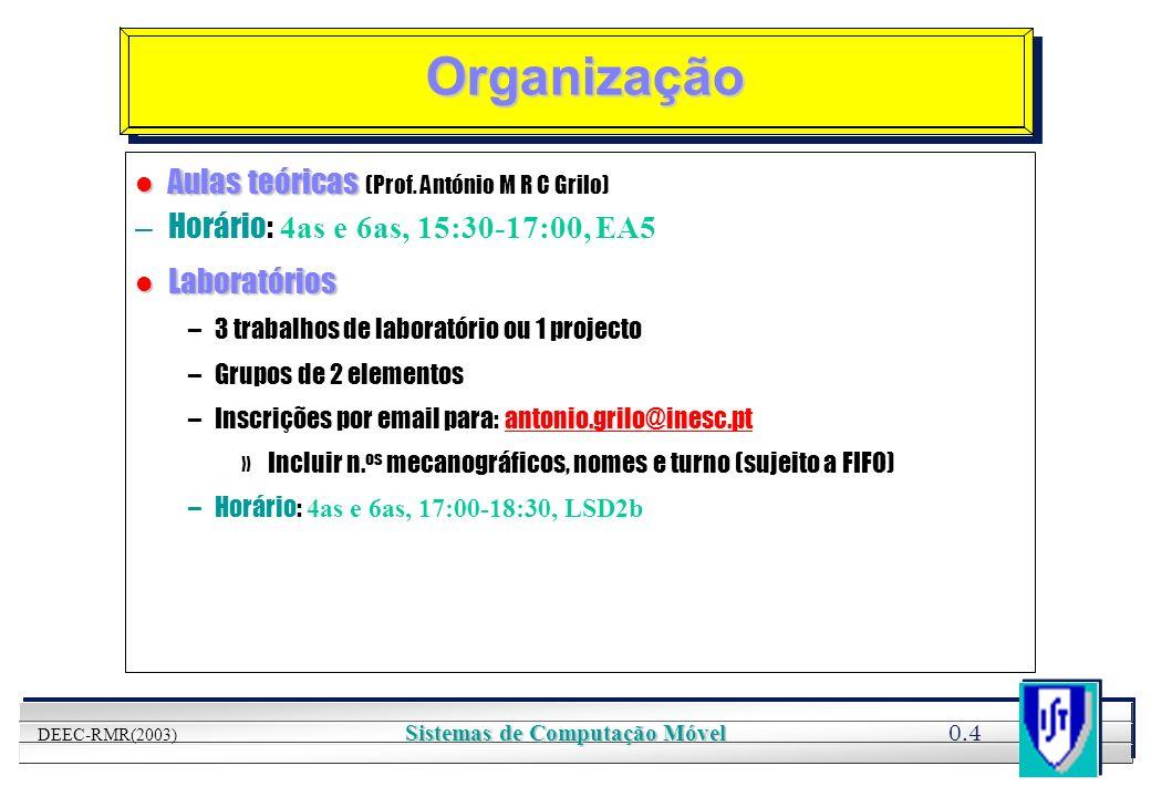 YOUR LOGO HERE 0.4 DEEC-RMR(2003) Sistemas de Computação Móvel Organização l Aulas teóricas l Aulas teóricas (Prof. António M R C Grilo) – Horário: 4a