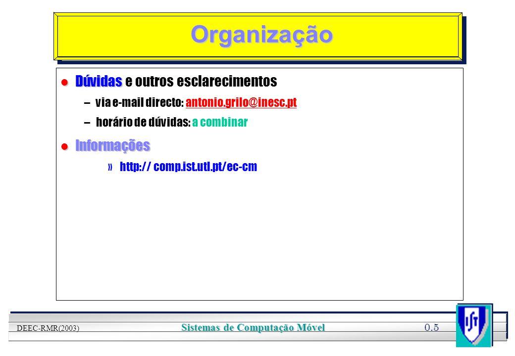 YOUR LOGO HERE 0.5 DEEC-RMR(2003) Sistemas de Computação Móvel Organização l Dúvidas l Dúvidas e outros esclarecimentos –via e-mail directo: antonio.g