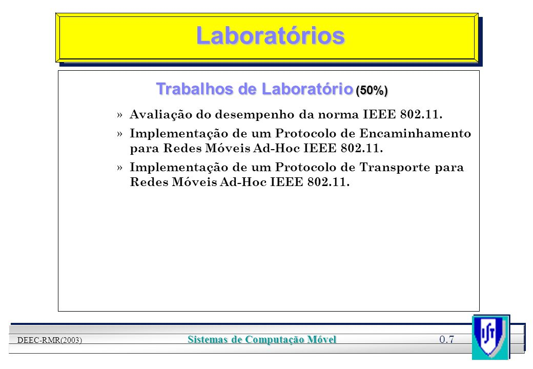 YOUR LOGO HERE 0.8 DEEC-RMR(2003) Sistemas de Computação Móvel Laboratórios Opção Projecto (50%) » Medição de desempenho de protocolos MAC para Redes de Sensores, utilizando nano-RK.