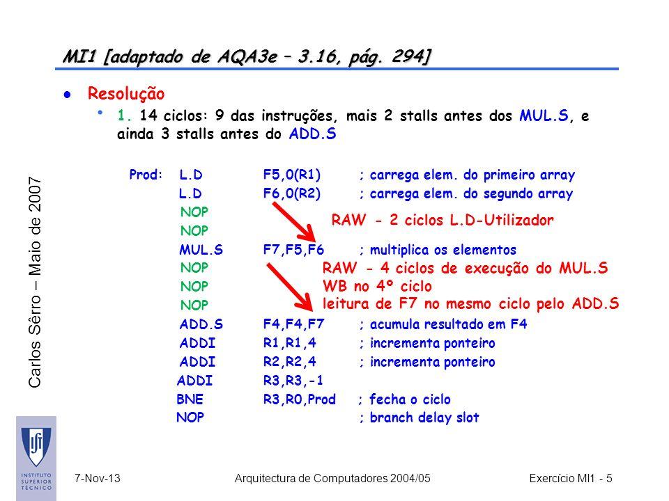 Carlos Sêrro – Maio de 2007 7-Nov-13 Arquitectura de Computadores 2004/05 Exercício MI1 - 5 MI1 [adaptado de AQA3e – 3.16, pág. 294] Resolução 1. 14 c