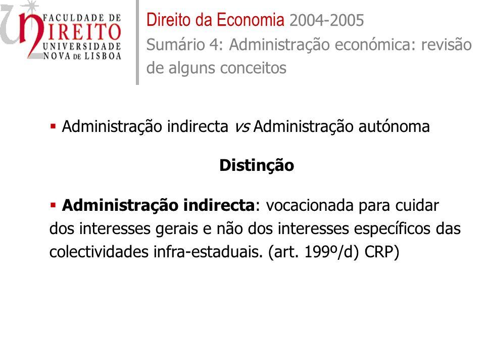 Direito da Economia 2004-2005 Sumário 4: Administração económica: revisão de alguns conceitos Administração indirecta vs Administração autónoma Distin