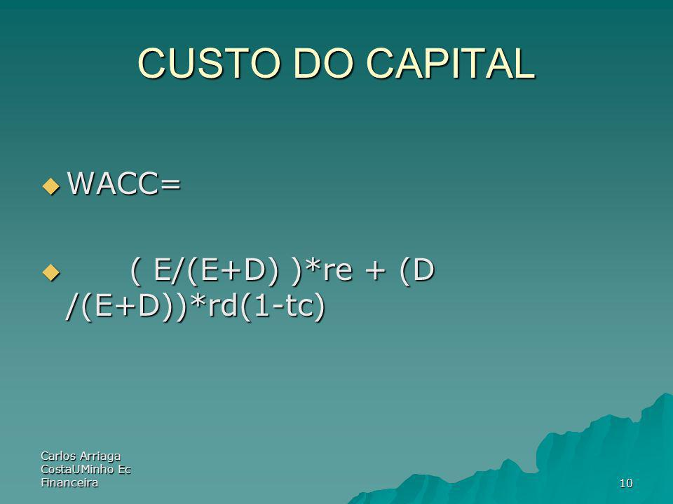 Carlos Arriaga CostaUMinho Ec Financeira10 CUSTO DO CAPITAL WACC= WACC= ( E/(E+D) )*re + (D /(E+D))*rd(1-tc) ( E/(E+D) )*re + (D /(E+D))*rd(1-tc)