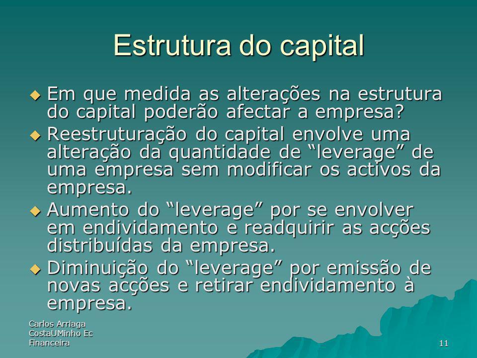 Carlos Arriaga CostaUMinho Ec Financeira11 Estrutura do capital Em que medida as alterações na estrutura do capital poderão afectar a empresa? Em que