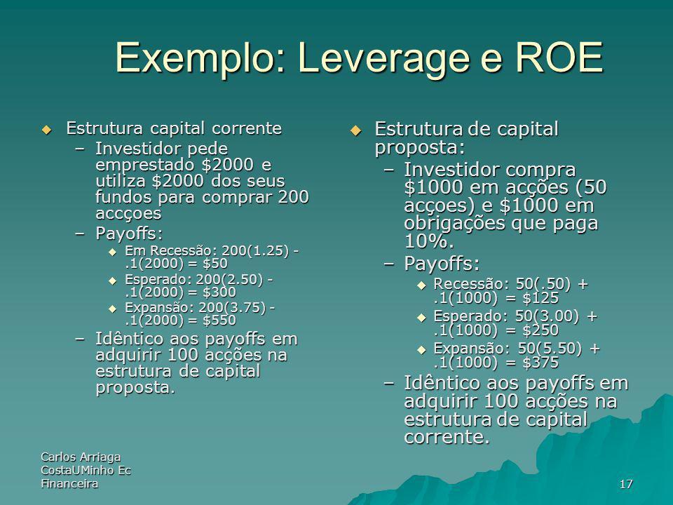 Carlos Arriaga CostaUMinho Ec Financeira17 Exemplo: Leverage e ROE Estrutura capital corrente Estrutura capital corrente –Investidor pede emprestado $