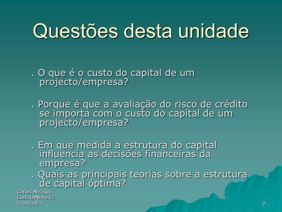 Carlos Arriaga CostaUMinho Ec Financeira 2 Questões desta unidade. O que é o custo do capital de um projecto/empresa?. Porque é que a avaliação do ris