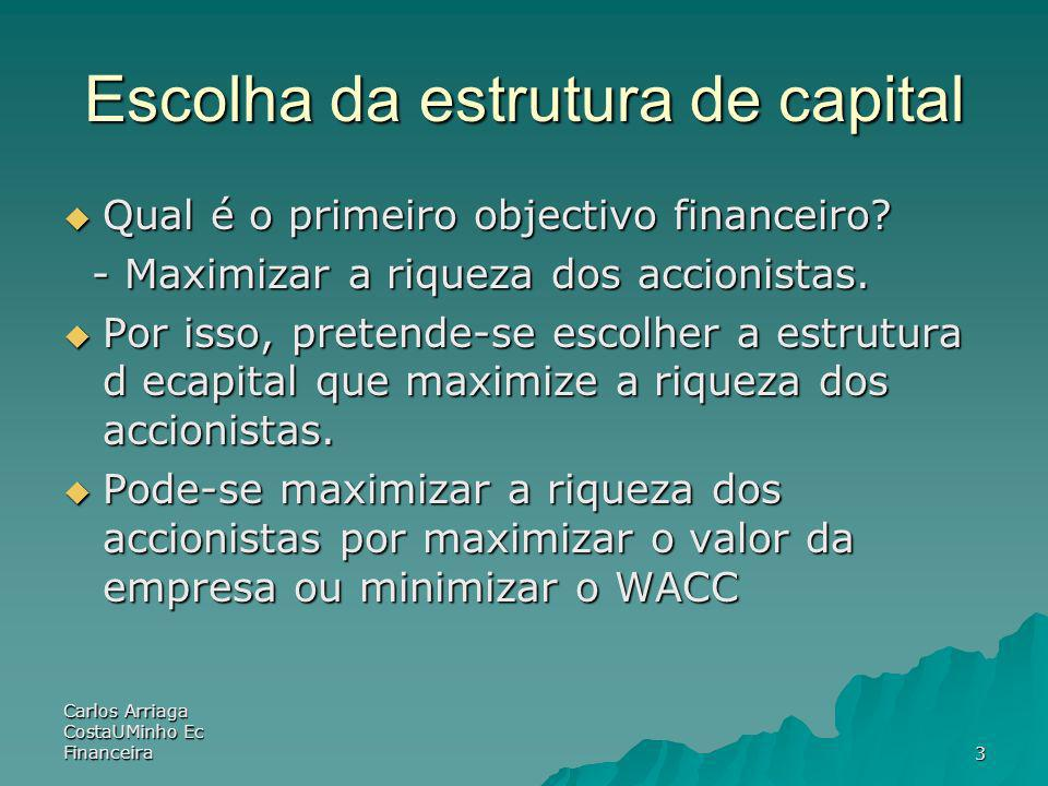 Carlos Arriaga CostaUMinho Ec Financeira4 Custo do capital definição : taxa de desconto adaptada ao risco do projecto/empresa definição : taxa de desconto adaptada ao risco do projecto/empresa Componentes: Componentes: - Custo da acção (dos capitais - Custo da acção (dos capitais próprios) próprios) - Custo do endividamento - Custo do endividamento WACC – weighted average cost of capital – taxa de desconto apropriada para proceder à avaliação dos cash-flows futuros do projecto/empresa WACC – weighted average cost of capital – taxa de desconto apropriada para proceder à avaliação dos cash-flows futuros do projecto/empresa
