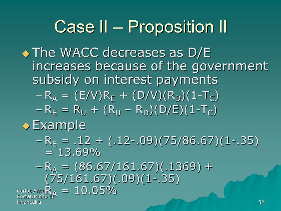 Carlos Arriaga CostaUMinho Ec Financeira32 Case II – Proposition II The WACC decreases as D/E increases because of the government subsidy on interest