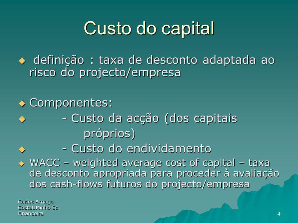 Carlos Arriaga CostaUMinho Ec Financeira25 Risco do negócio e risco financeiro R E = R f + A (1+D/E)(R M – R f ) R E = R f + A (1+D/E)(R M – R f ) CAPM: R E = R f + E (R M – R f ) CAPM: R E = R f + E (R M – R f ) – E = A (1 + D/E) Therefore, the systematic risk of the stock depends on: Therefore, the systematic risk of the stock depends on: –Systematic risk of the assets, A, (Business risk) –Level of leverage, D/E, (Financial risk)