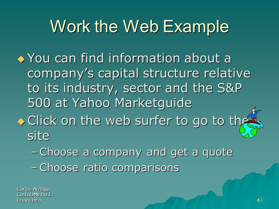 Carlos Arriaga CostaUMinho Ec Financeira43 Work the Web Example You can find information about a companys capital structure relative to its industry,