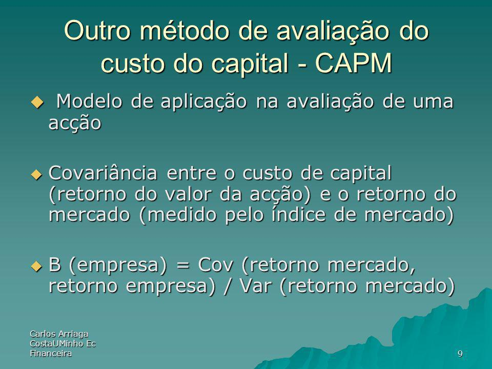 Carlos Arriaga CostaUMinho Ec Financeira9 Outro método de avaliação do custo do capital - CAPM Modelo de aplicação na avaliação de uma acção Modelo de