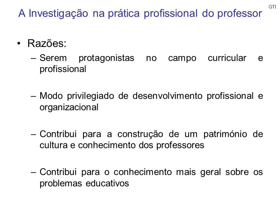 A Investigação na prática profissional do professor Razões: –Serem protagonistas no campo curricular e profissional –Modo privilegiado de desenvolvime