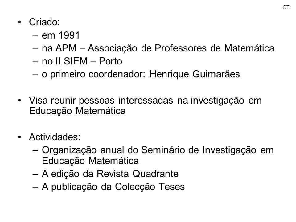 GTI Criado: –em 1991 –na APM – Associação de Professores de Matemática –no II SIEM – Porto –o primeiro coordenador: Henrique Guimarães Visa reunir pes