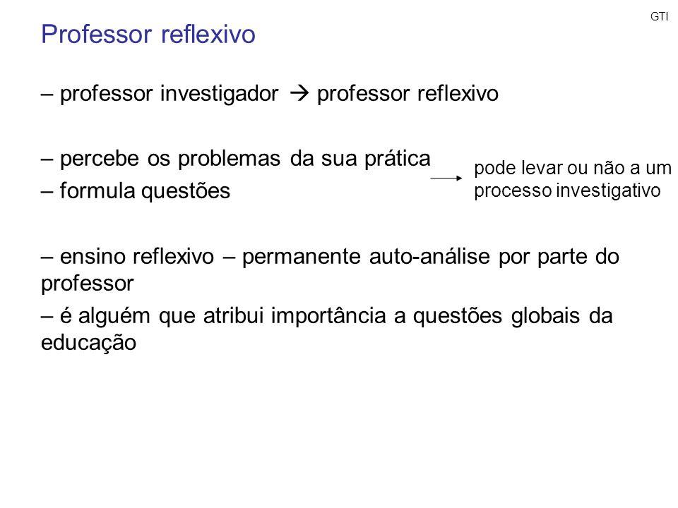 Professor reflexivo – professor investigador professor reflexivo – percebe os problemas da sua prática – formula questões – ensino reflexivo – permane