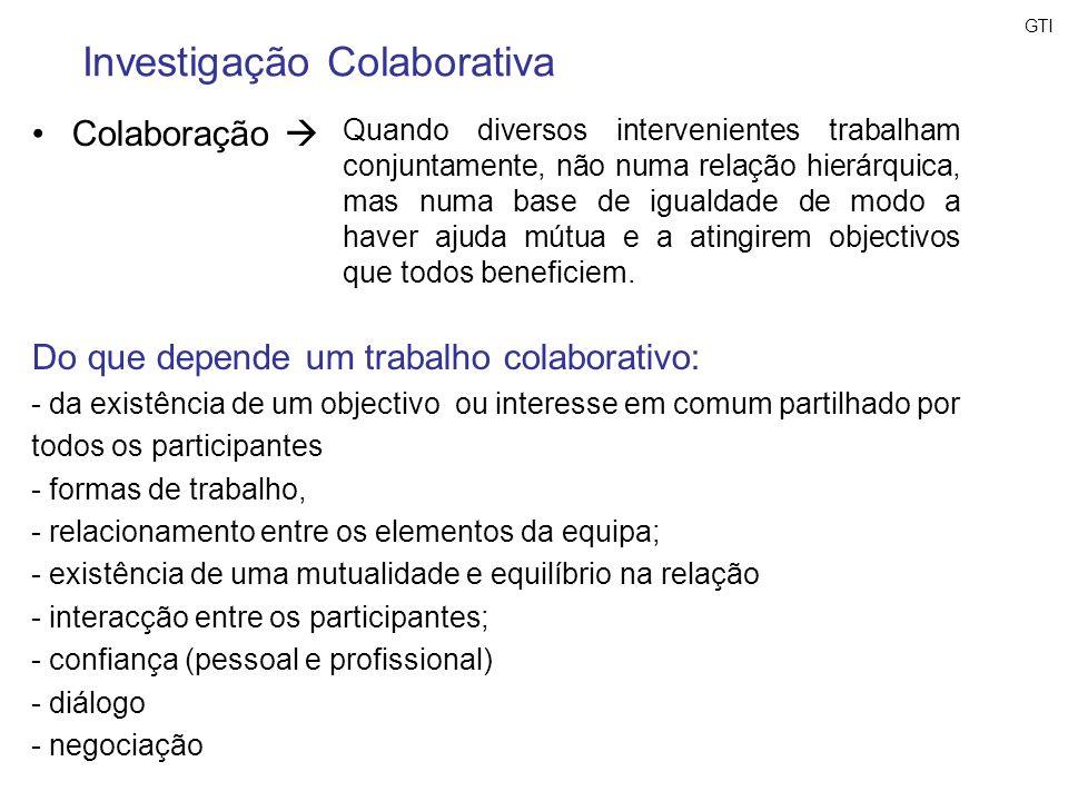 Colaboração Investigação Colaborativa Quando diversos intervenientes trabalham conjuntamente, não numa relação hierárquica, mas numa base de igualdade