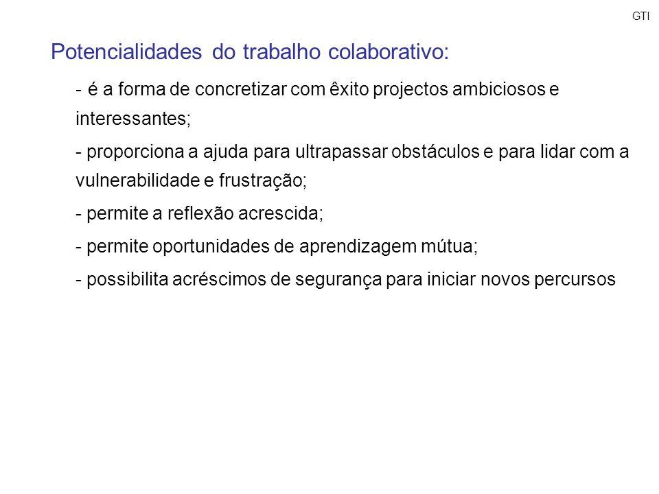 Potencialidades do trabalho colaborativo: - é a forma de concretizar com êxito projectos ambiciosos e interessantes; - proporciona a ajuda para ultrap