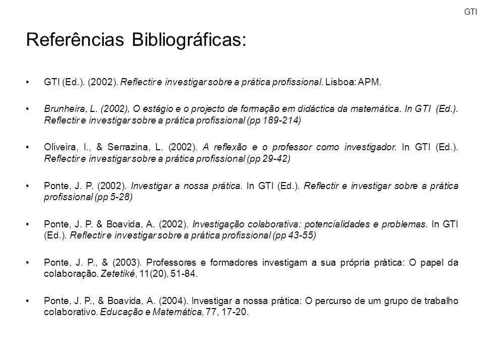 GTI Referências Bibliográficas: GTI (Ed.). (2002). Reflectir e investigar sobre a prática profissional. Lisboa: APM. Brunheira, L. (2002), O estágio e