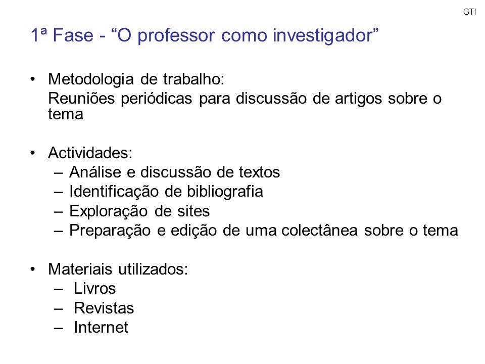 GTI 1ª Fase - O professor como investigador Metodologia de trabalho: Reuniões periódicas para discussão de artigos sobre o tema Actividades: –Análise