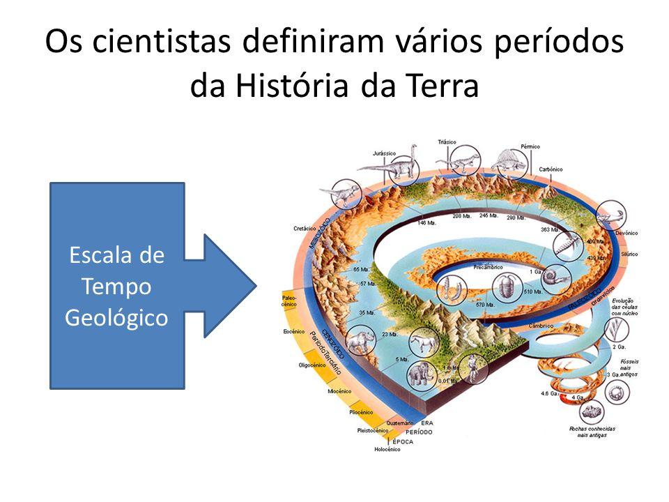 Os cientistas definiram vários períodos da História da Terra Escala de Tempo Geológico