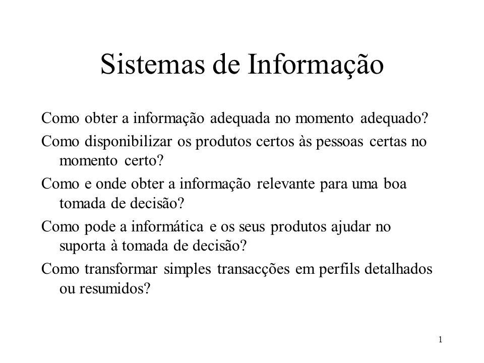 1 Sistemas de Informação Como obter a informação adequada no momento adequado? Como disponibilizar os produtos certos às pessoas certas no momento cer