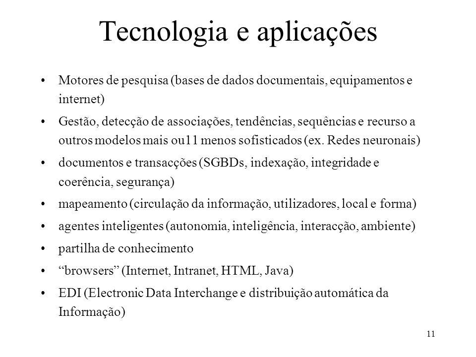 11 Tecnologia e aplicações Motores de pesquisa (bases de dados documentais, equipamentos e internet) Gestão, detecção de associações, tendências, sequ