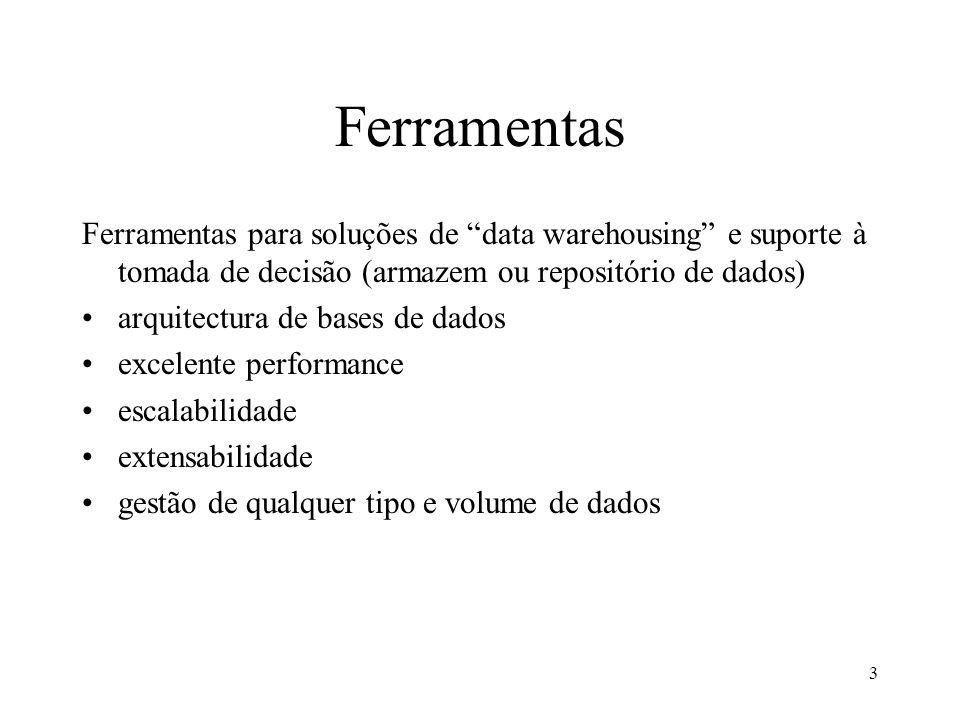 3 Ferramentas Ferramentas para soluções de data warehousing e suporte à tomada de decisão (armazem ou repositório de dados) arquitectura de bases de d