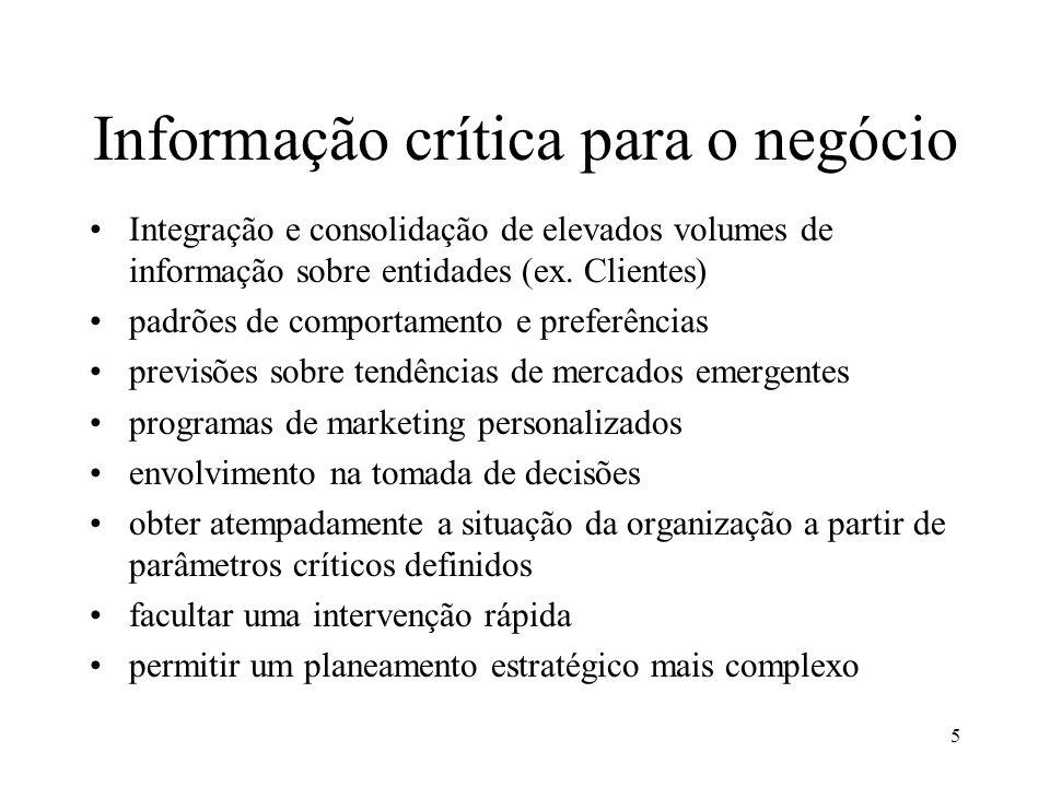 5 Informação crítica para o negócio Integração e consolidação de elevados volumes de informação sobre entidades (ex. Clientes) padrões de comportament