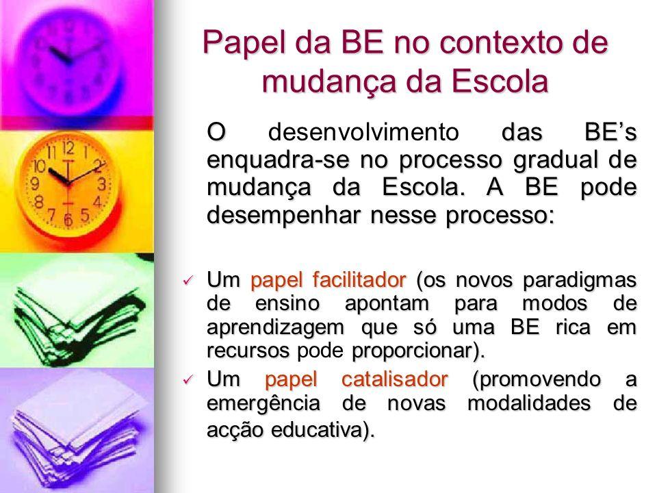 Papel da BE no contexto de mudança da Escola O das BEs enquadra-se no processo gradual de mudança da Escola. A BE pode desempenhar nesse processo: O d