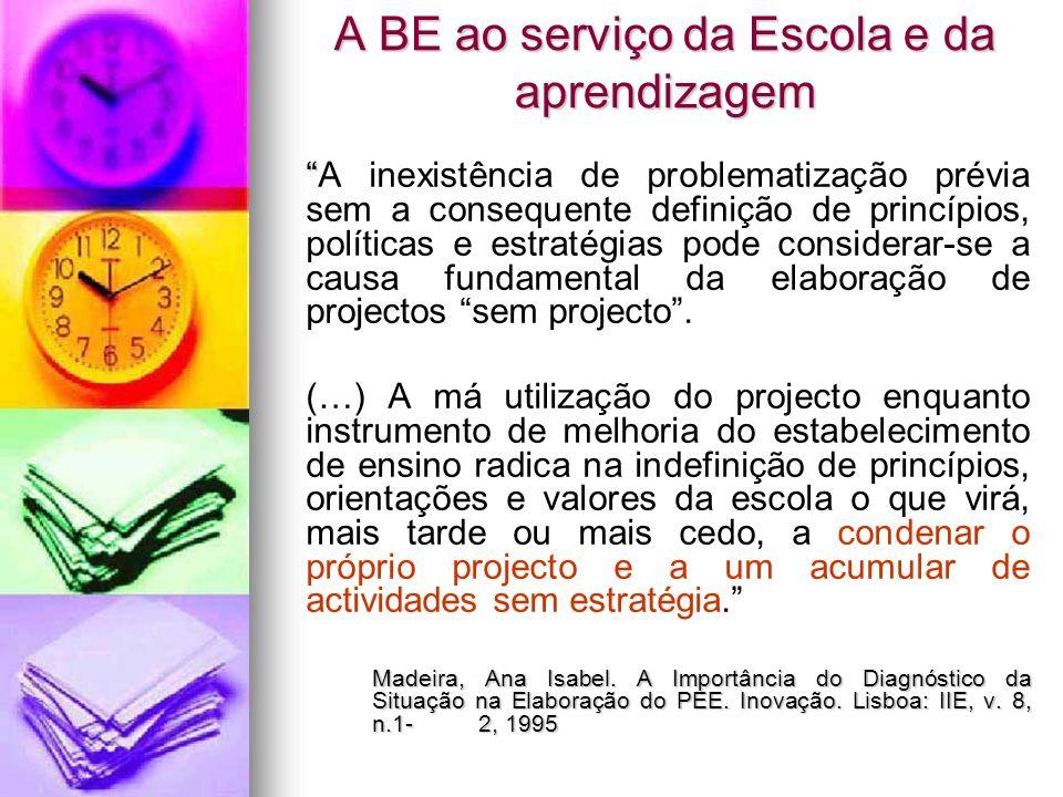 A BE ao serviço da Escola e da aprendizagem A inexistência de problematização prévia sem a consequente definição de princípios, políticas e estratégia