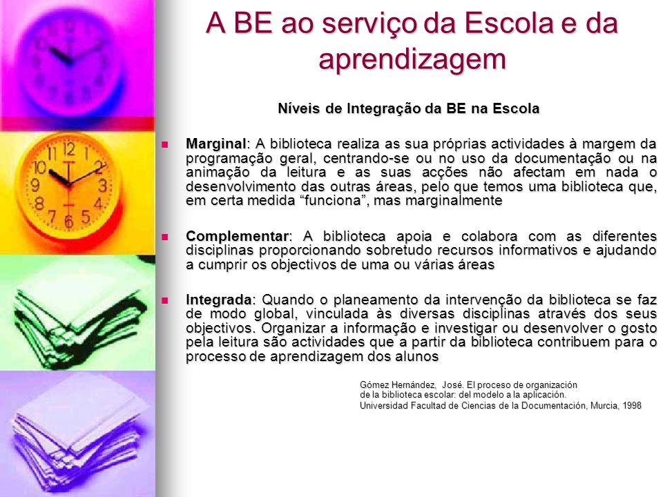 A BE ao serviço da Escola e da aprendizagem Níveis de Integração da BE na Escola Marginal: A biblioteca realiza as sua próprias actividades à margem d