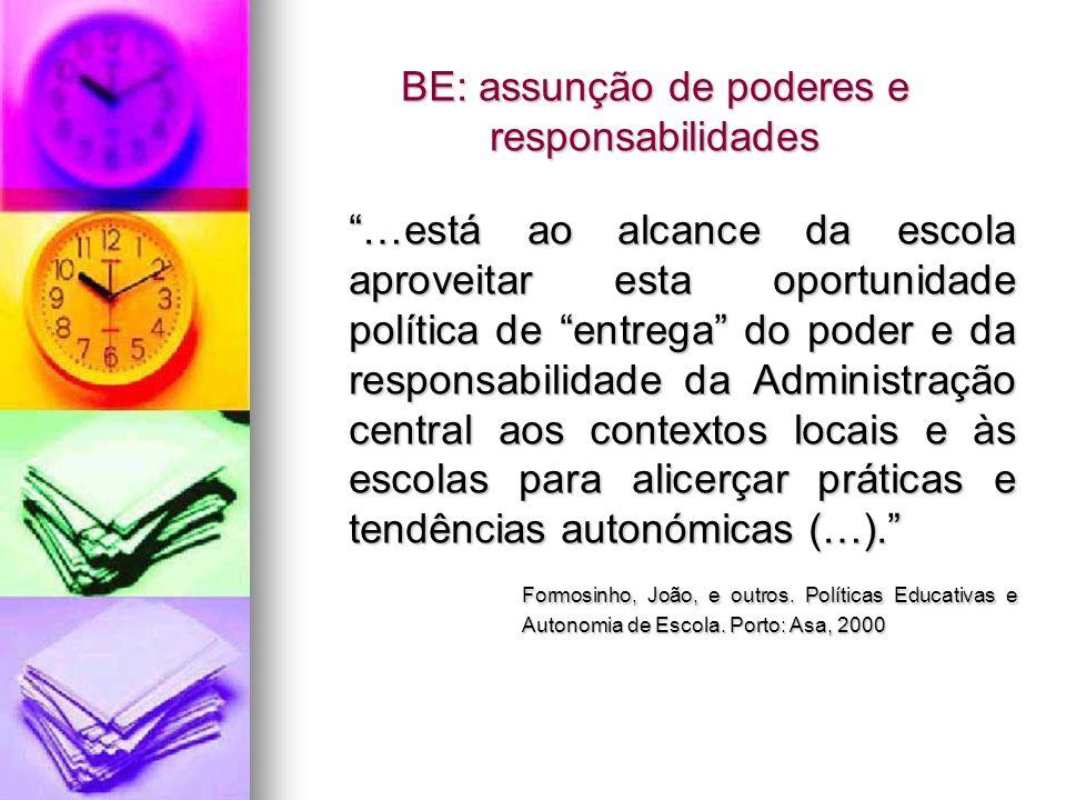BE: assunção de poderes e responsabilidades …está ao alcance da escola aproveitar esta oportunidade política de entrega do poder e da responsabilidade