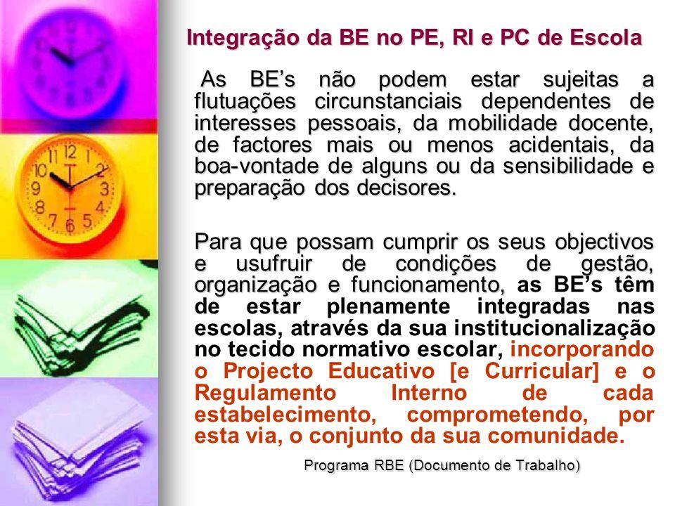 Integração da BE no PE, RI e PC de Escola As BEs não podem estar sujeitas a flutuações circunstanciais dependentes de interesses pessoais, da mobilida