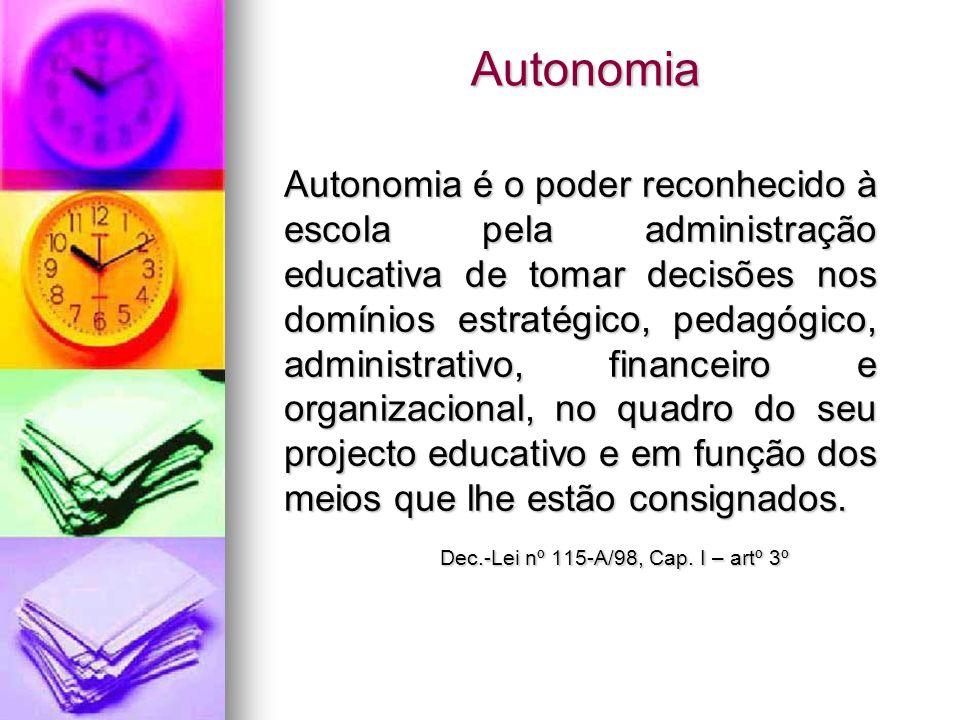 Autonomia Autonomia é o poder reconhecido à escola pela administração educativa de tomar decisões nos domínios estratégico, pedagógico, administrativo