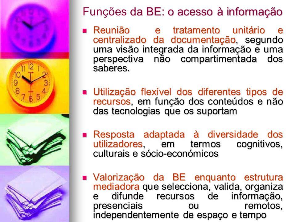 da BE: o acesso à informação Funções da BE: o acesso à informação Reunião e tratamento unitário e centralizado da documentação, segundo uma visão inte