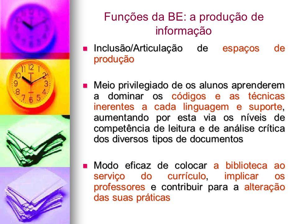 Funções da BE: a produção de informação Inclusão/Articulação de espaços de produção Inclusão/Articulação de espaços de produção Meio privilegiado de o