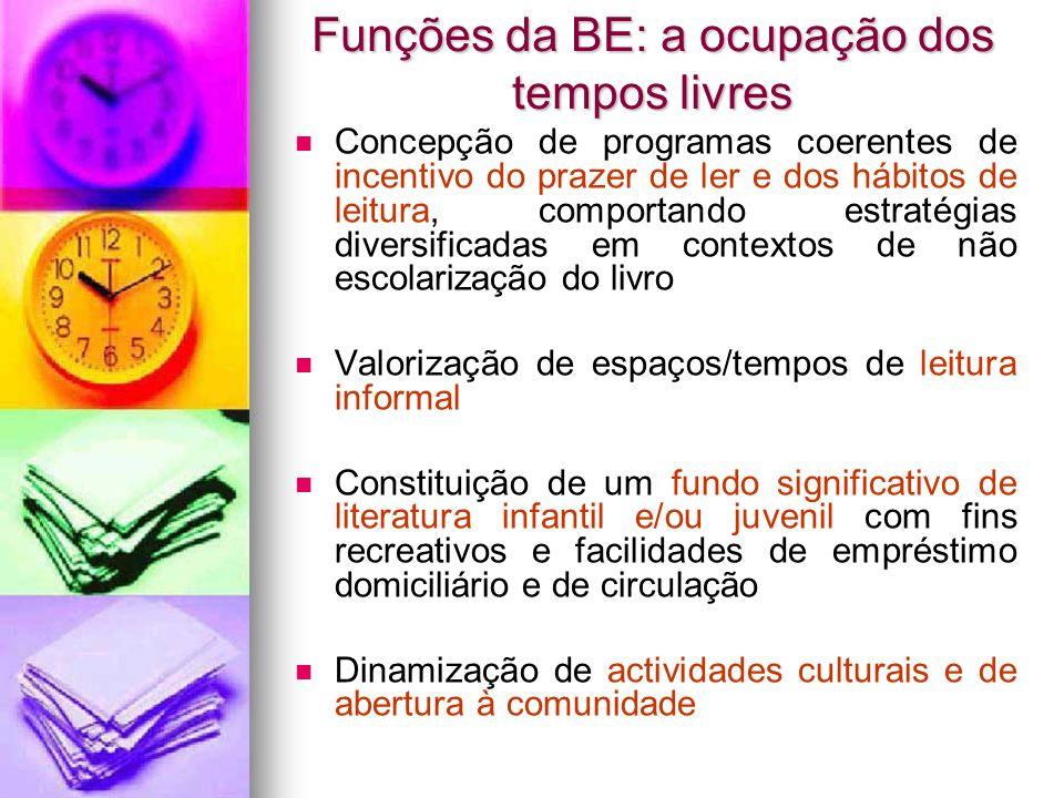 Funções da BE: a ocupação dos tempos livres Concepção de programas coerentes de incentivo do prazer de ler e dos hábitos de leitura, comportando estra