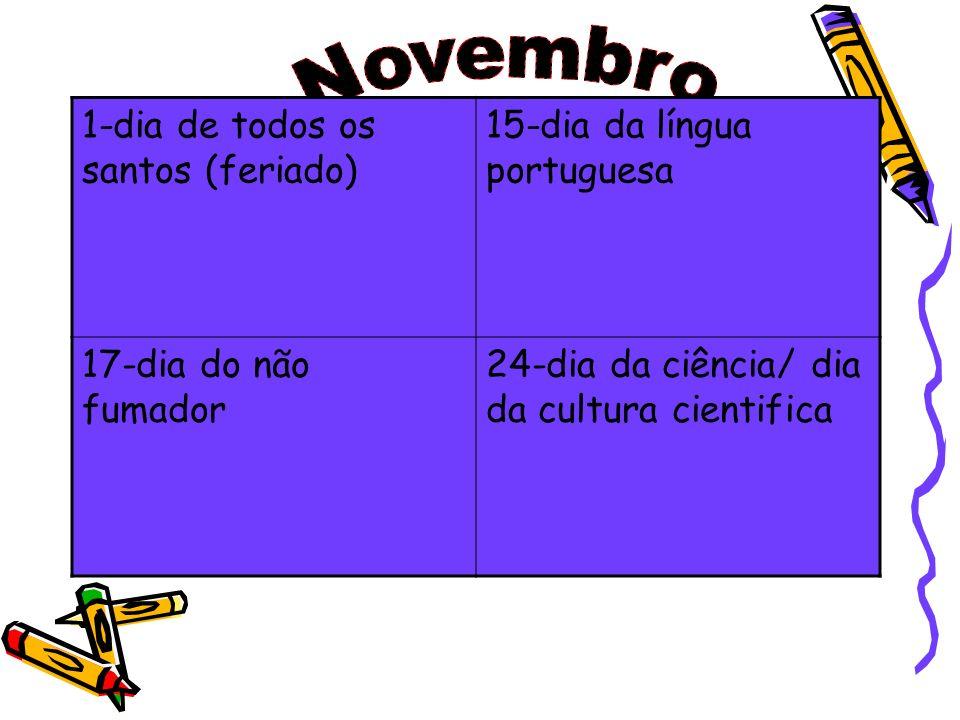 1-dia de todos os santos (feriado) 15-dia da língua portuguesa 17-dia do não fumador 24-dia da ciência/ dia da cultura cientifica