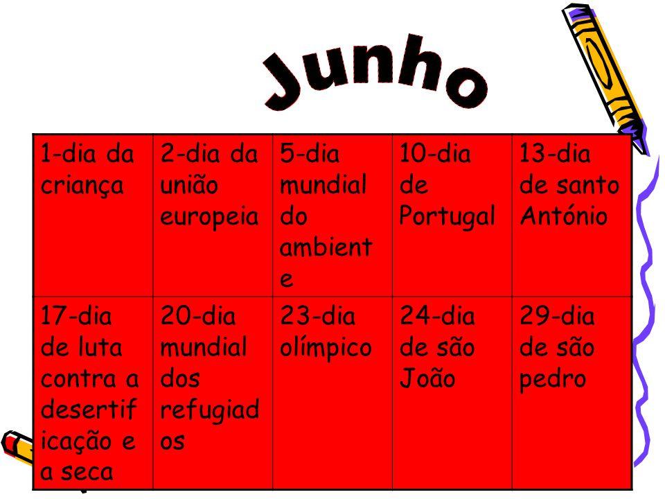 1-dia da criança 2-dia da união europeia 5-dia mundial do ambient e 10-dia de Portugal 13-dia de santo António 17-dia de luta contra a desertif icação