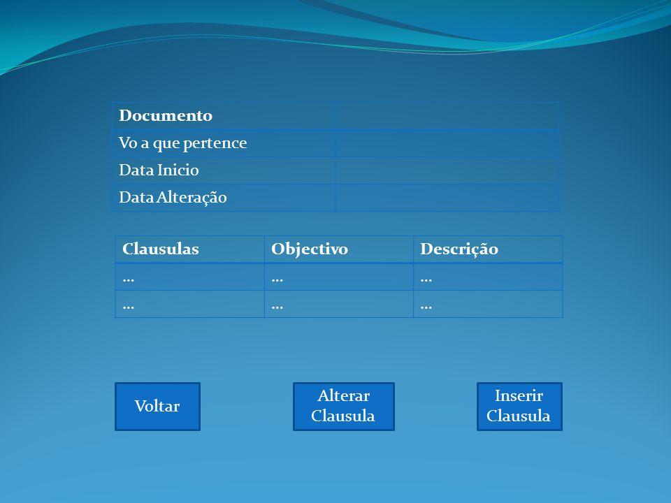 Documento Vo a que pertence Data Inicio Data Alteração Voltar ClausulasObjectivoDescrição ……… ……… Inserir Clausula Alterar Clausula