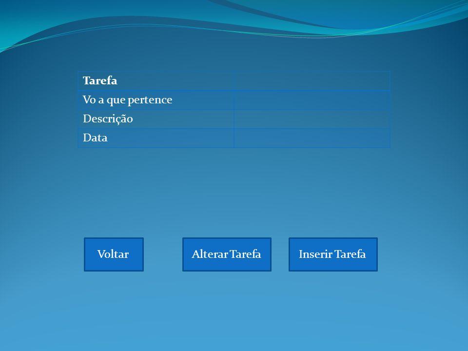 Tarefa Vo a que pertence Descrição Data VoltarAlterar TarefaInserir Tarefa