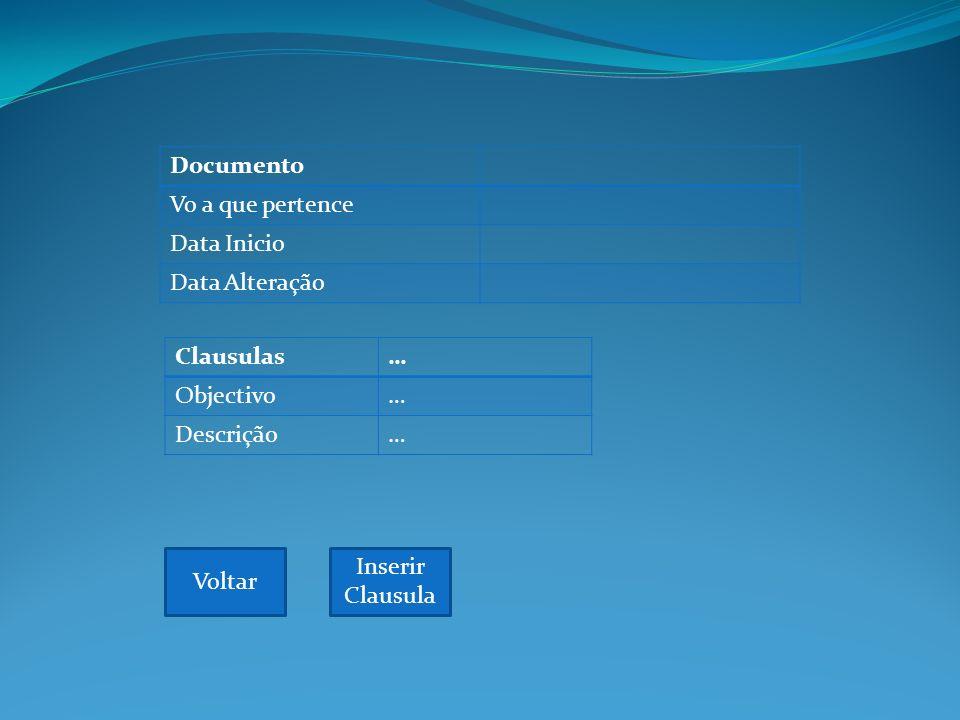 Documento Vo a que pertence Data Inicio Data Alteração Voltar Clausulas… Objectivo… Descrição… Inserir Clausula